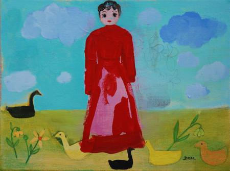 Betty Boop tussen eendjes-Betty Boop between ducks 40x30 cm 2013