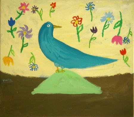 Blauwe vogel-Blue bird 40x35 cm 1998
