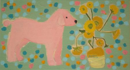 Hond met zonnebloemen-Dog with sunflowers 45x25 cm 2012