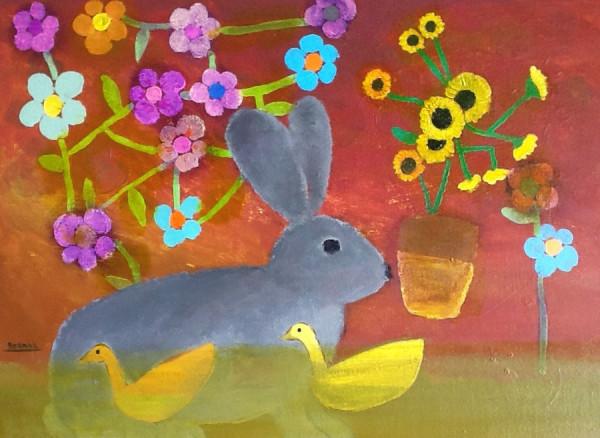 Konijn met zonnebloemen-Rabbit with sunflowers 40x30 cm 2012 Part. coll.