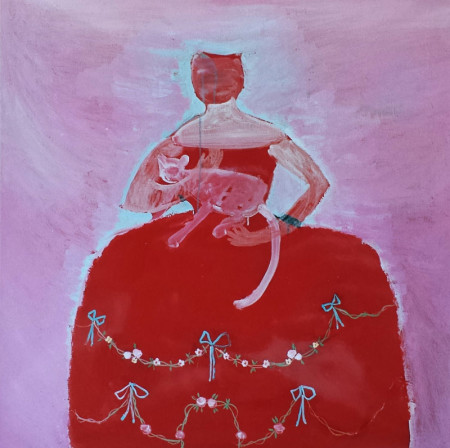 Prinses met kat-Princes with cat 110x110 cm 2006