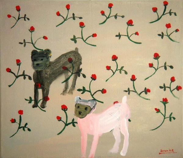 Twee honden-Two dogs 35x30 cm 1999